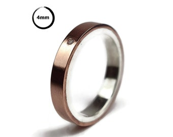 Classic Copper Wedding Band Ring Cubic Zirconia CZ Copper Wedding Band Ring for Women Modern Wedding Band with Cubic Zirconia Gemstone 4mm