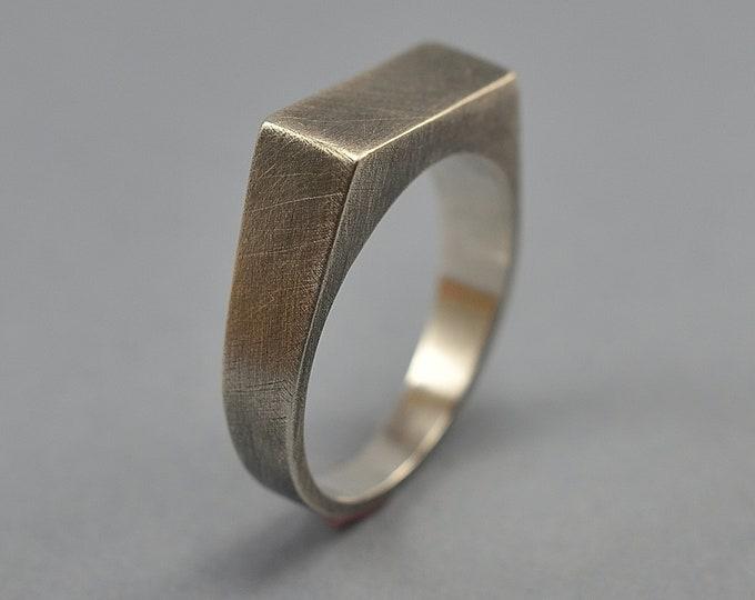 Men's Antique Silver Signet Ring. Vintage Silver Signet Ring. Signet Ring Antique Finish