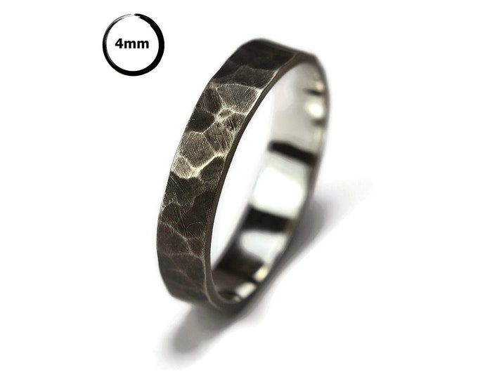 Antique Hammered Silver Wedding Ring. Antique Rustic Sterling Silver Wedding Band. Free Engraving. Custom Silver Ring. Oxidized Ring 4mm