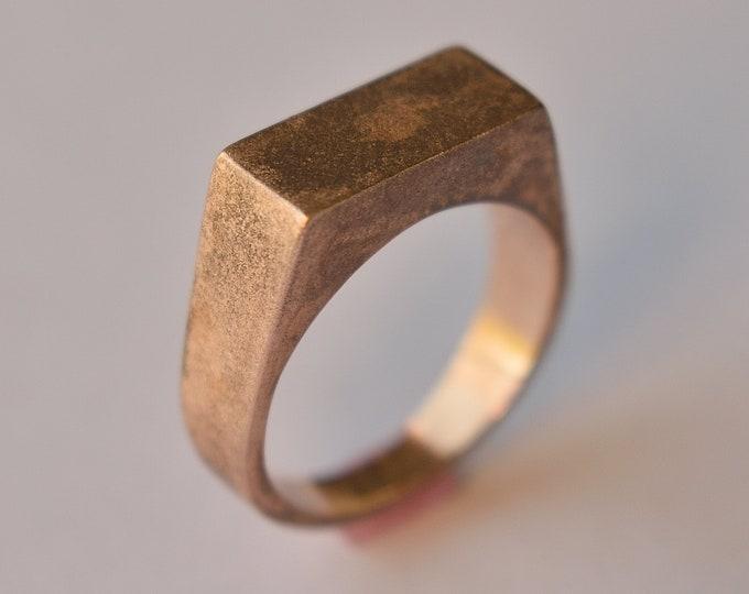 Antique Bronze Signet Ring. Men's Antique Rectangle Bronze Ring. Antique Bronze Signet Ring for Men