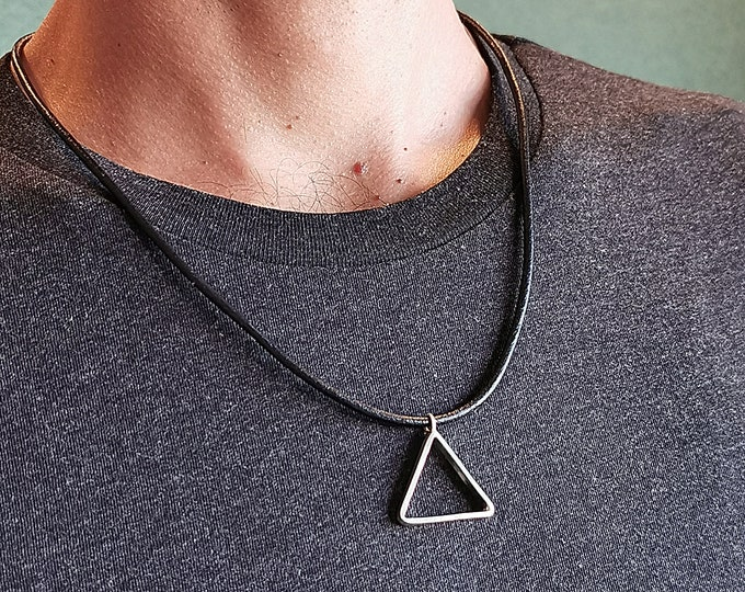Mens Triangle Necklace, Triangle Necklace For Men, Leather Necklace for Men, Triangle Silver Pendant, Triangle Silver Pendant For Men