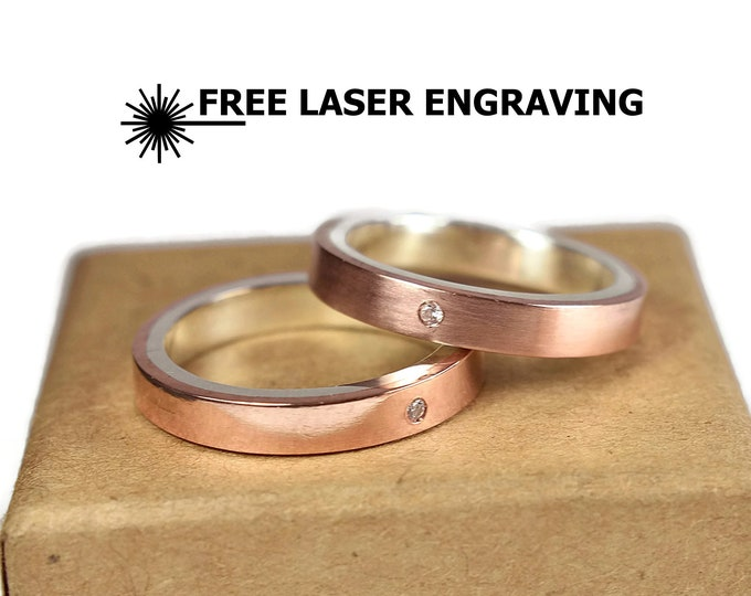4mm Classic Copper Cubic Zirconia CZ Wedding Band Set Cubic Zirconia CZ Wedding Band Set Free Inside Engraving Custom Engraving