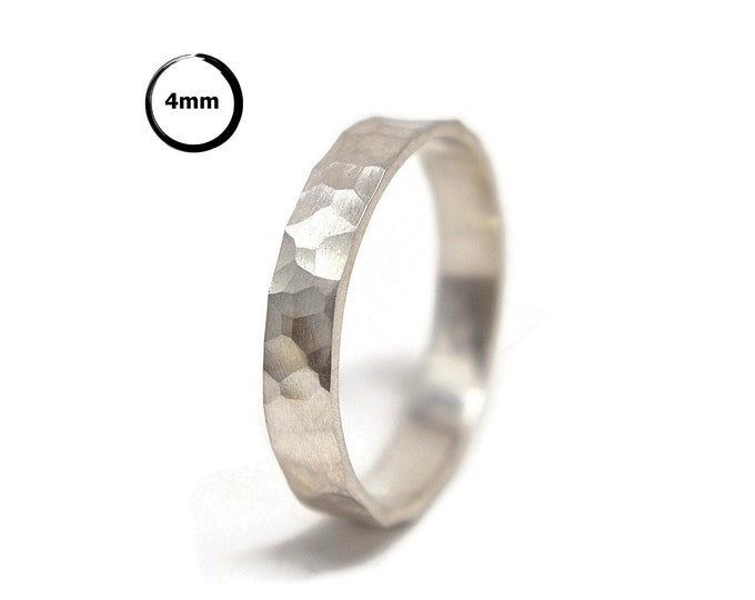 Rustic Sterling Silver Wedding Band. Hammered Silver Wedding Band Ring. Free Engraving. Custom Silver Ring. Matte Finished. Matte Ring 4mm