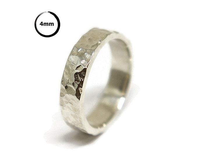 Meteorite Sterling Silver Wedding Ring. Rustic Moon Sterling Silver Wedding Band. Free Engraving Ring. Custom Ring Silver. Polished Ring 4mm