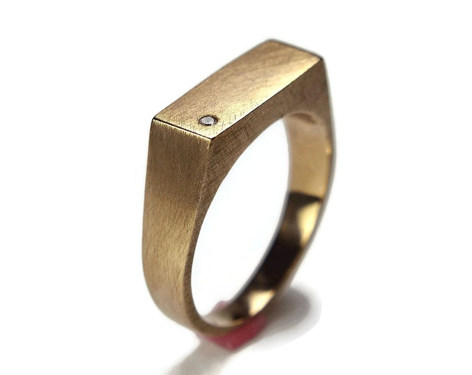 Men's Custom Ring.  Men's Signet Ring With Cubic Zirconia. Brass Signet Ring.  Custom Ring With Cubic Zirconia.  Engraved Rectangle Ring