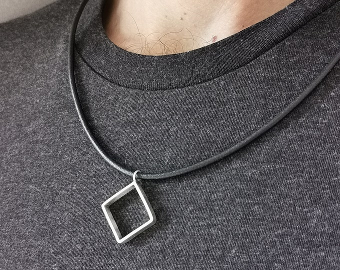 Mens Square Necklace, Square Necklace For Men, Leather Necklace for Men, Square Silver Pendant, Square Silver Pendant For Men