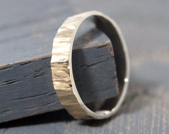 Gold and Silver Wedding Band Ring Tree Bark. Gold and Silver Wedding Band Tree Bark. Mens Gold Promise Ring Tree Bark. Mens Gold Ring Nature