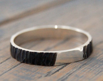 Rustic Oxidized Wedding Ring for Women, Oxidized Silver Ring, Tree Bark Oxidized Sterling Silver Ring, Women Black Rhodium Band Ring