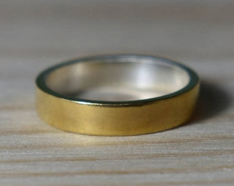 Gold Plated Wedding Band. Unisex Gold Plated Wedding Band. Gold Plated Ring. 925 Silver Gold Plated Ring. Sterling Silver Gold Plated Ring