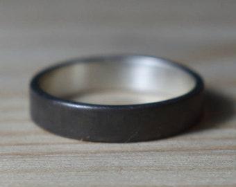 Womens Black Wedding Band Ring. Black Rhodium Plated Ring. Minimalist Style. Flat Shape 4mm