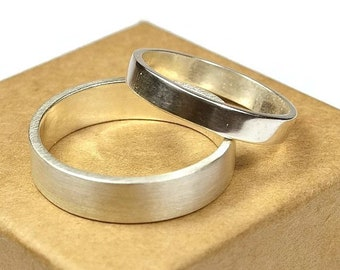 Silver Wedding Band Ring Set His and Hers. Urban Style. Flat Shape 4mm and 6mm