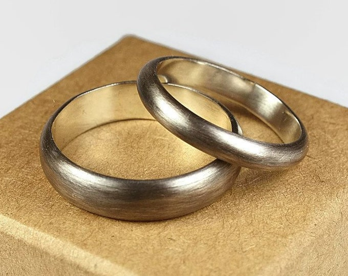 Antique Dark Oxidized Silver Wedding Band Set. Traditional Style. Half Round Shape 4mm and 6mm
