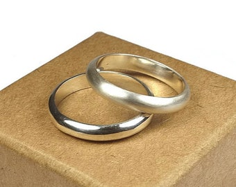 Sterling Silver Wedding Band Ring Set Women. Classic Style. Half Round Shape 4mm