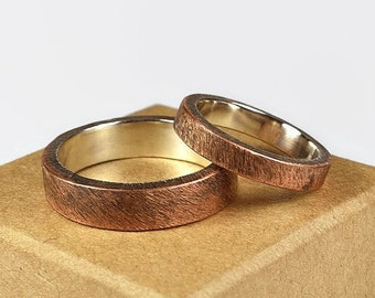 Antique Copper Wedding Band Ring Set. Antique Style. Flat Shape 4mm and 6mm