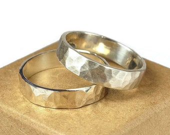 Mens Sterling Silver Wedding Band Ring Set. Rustic Style. Hammered Shape 6mm