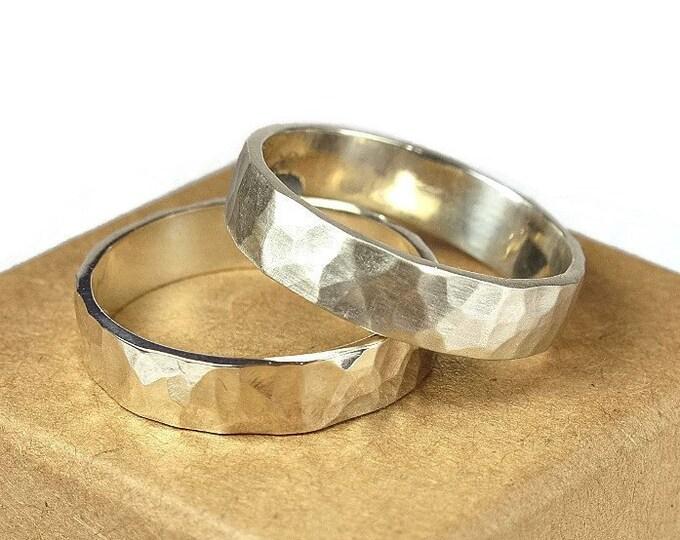 Hammered Sterling Silver Wedding Band Ring Set. Couples Wedding Band, Rustic Style. Hammered Shape 6mm