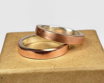 Womens Copper Wedding Band Ring Set. Minimalist Style. Flat Shape 4mm