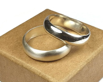 Sterling Silver Promise Wedding Band Ring Set. Classic Style. Promise ring for him and her. Half Round Shape 6mm