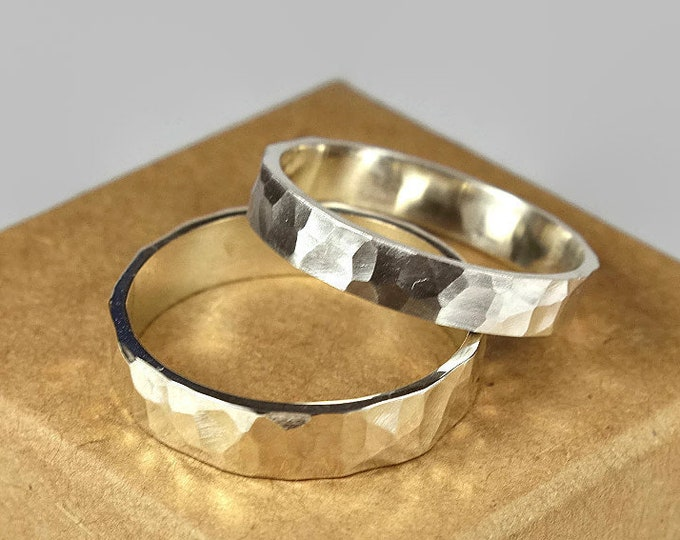 Sterling Silver Wedding Band Set for Couples. Rustic Style. Flat Hammered Shape 4mm and 6mm