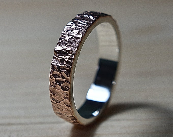 Mens Rustic Copper Wedding Band Ring. Textured Meteorite Style. Flat Shape 6mm