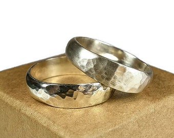 Classic Sterling Silver Wedding Band Ring Set. Classic Style. Hammered Half Round Shape 6mm