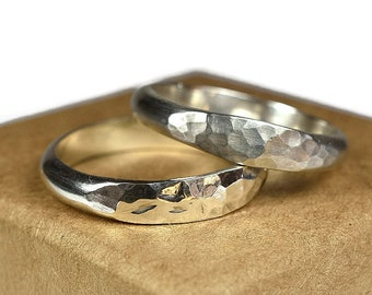 Hammered Sterling Silver Wedding Band Ring Set. Boho Style. Hammered Half Round Shape 4mm