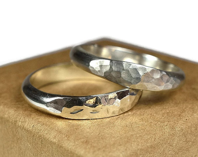 4mm Hammered Sterling Silver Wedding Bands Set His and Hers Wedding Bands Classic Silver Wedding Bands for couples Traditional Wedding Band