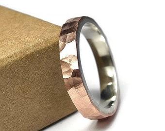 Hammered Matte Copper Ring. Hammered Copper Ring for Woman. Hammered Copper Matte Wedding Band Ring. Hammered Copper and Silver Ring