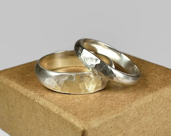 Sterling Silver Wedding Band Ring Set. Classic Ladies Style. Hammered Half Round Shape 4mm and 6mm