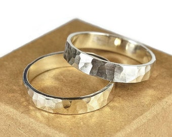 Womens Sterling Silver Wedding Band Ring Set. Rustic Style. Hammered Flat Shape 4mm