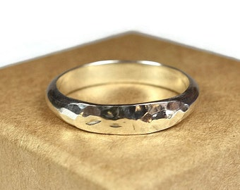 Womens Sterling Silver Wedding Band Ring. Classic Ladies Style. Hammered Half Round Shape 4mm