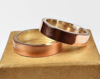 Mens Copper Wedding Band Ring Set. Modern Style. Flat Shape 6mm