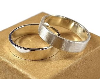 Silver Wedding Band Set. Couple Wedding Bands with Inside Free Engraving. His And Hers Wedding Rings, Modern Style. Flat Shape 6mm