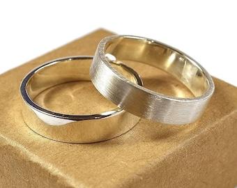 Silver Wedding Band Ring Set Men. Urban Minimalist Style. Flat Shape 6mm