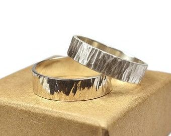 Mens Sterling Silver Wedding Band Ring Set. Rustic Style. Tree Bark Texture, Flat Shape 6mm