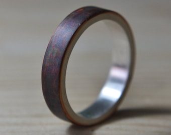Mens Antique Copper Wedding Band. Unisex Copper Wedding ring. Mens Antique Rings. 6mm Mens Copper Wedding Band. 6mm Copper Wedding Ring