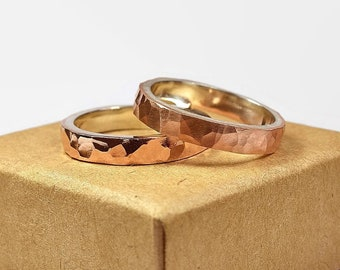 Womens Hammered Copper Wedding Band Ring Set. Rustic Style. Flat Shape 4mm