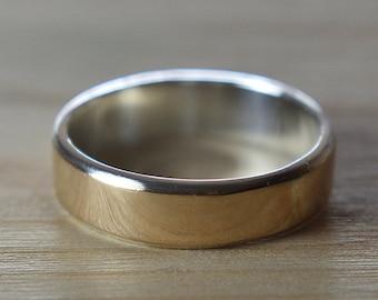 Mens 18K Rose Gold Wedding Band Ring. Unisex 18K Rose Gold Wedding Band. Modern Style. Flat Shape 6mm