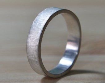 Mens Flat Sterling Silver Wedding Band. Silver Matte Wedding Ring for Men. Mens Wedding Rings. Matte Wedding Band. Wedding Band for Men