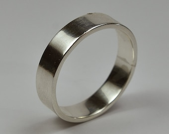 Mens Wedding Ring Band Sterling Silver. Style Classic. Flat Shape 6mm