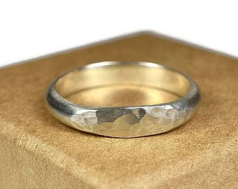 Womens Sterling Silver Wedding Band Ring. Boho Matte Style. Hammered Half Round Shape 4mm