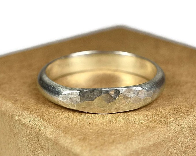 4mm Hammered Wedding Band Ring Round Silver Ring Silver Wedding Band Ring Matte Wedding Band Ring Minimalist Band Ring Unique Band Ring