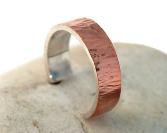 Adjustable Mens Copper Wedding Band Ring. Copper Wedding Band Ring Tree Bark imitation. Mens Adjustable Rustic Copper Band Ring