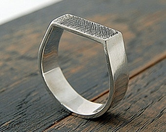 Personalized Ring for Him. Mens Personalized Wedding Band Ring. Personalized Wedding Band Man. Custom Stamped Ring Band