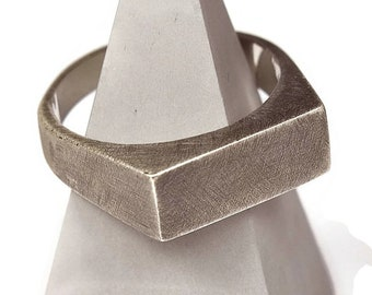 Mens Antique Sterling Silver Signet Ring. Antique Minimalist Style. Wide 8mm