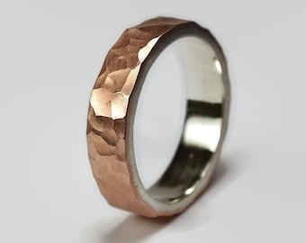 Mens Flat Hammered Copper Wedding Band. Hammered Copper Matte Wedding Ring for Man. Mens Wedding Rings. Hammered Matte Wedding Band
