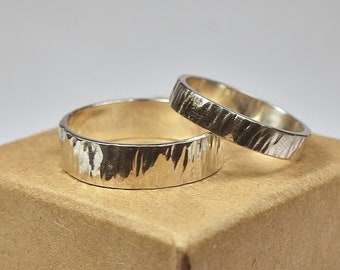 Sterling Silver Wedding Band Ring Set for Couples. Rustic Style. Tree Bark Texture, Flat Shape 4mm and 6mm