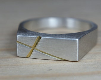 Mens Silver Cross Signet Ring. Cross Sterling Silver Ring for Men. Mens Sterling Silver Cross Ring. Cross Ring Men