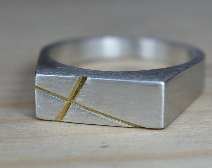 Featured listing image: Mens Silver Cross Signet Ring. Cross Sterling Silver Ring for Men. Mens Sterling Silver Cross Ring. Cross Ring Men