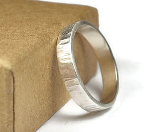 Rustic Promise Ring for Her. Rustic Style. Matte Finished. Tree Bark Texture, Flat Shape 4mm